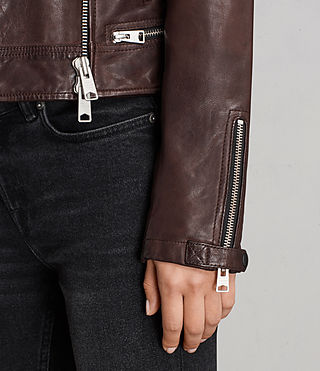 Womens Conroy Leather Biker Jacket (OXBLOOD RED) - Image 4