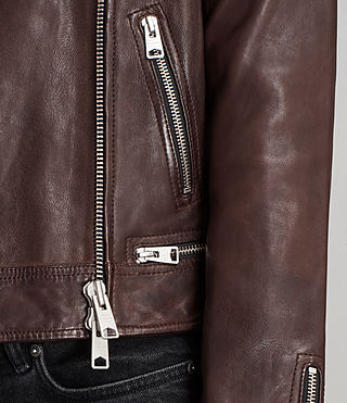 Womens Conroy Leather Biker Jacket (OXBLOOD RED) - Image 6