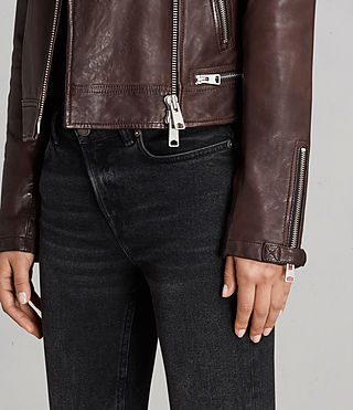 Womens Conroy Leather Biker Jacket (OXBLOOD RED) - Image 7