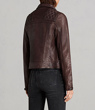 Womens Conroy Leather Biker Jacket (OXBLOOD RED) - Image 8