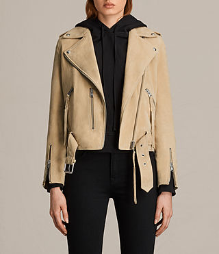 Femmes Plait Balfern Suede Biker Jacket (LEMON YELLOW)