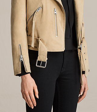 Women's Plait Balfern Suede Biker Jacket (LEMON YELLOW) - product_image_alt_text_2