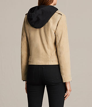 Women's Plait Balfern Suede Biker Jacket (LEMON YELLOW) - product_image_alt_text_7