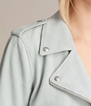 Women's Plait Balfern Suede Biker Jacket (LUNA BLUE) - product_image_alt_text_4