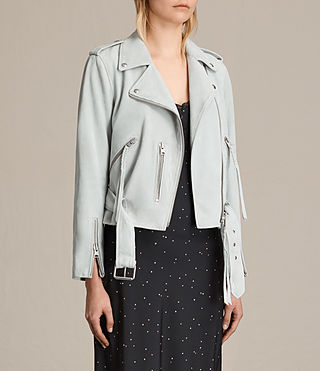Women's Plait Balfern Suede Biker Jacket (LUNA BLUE) - product_image_alt_text_5