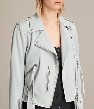 Women's Plait Balfern Suede Biker Jacket (LUNA BLUE) - product_image_alt_text_6