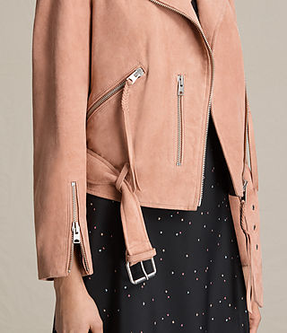 Women's Plait Balfern Suede Biker Jacket (CLAY PINK)