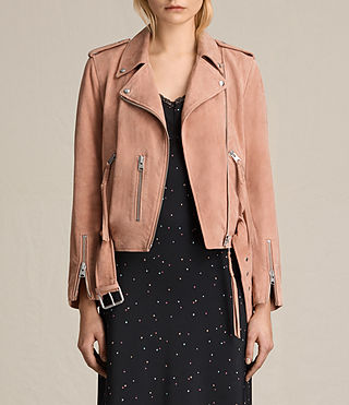 Womens Plait Balfern Suede Biker Jacket (CLAY PINK) - product_image_alt_text_2