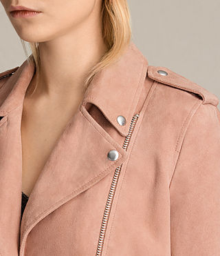 Womens Plait Balfern Suede Biker Jacket (CLAY PINK) - product_image_alt_text_3