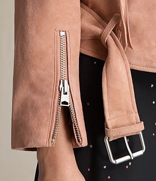 Womens Plait Balfern Suede Biker Jacket (CLAY PINK) - product_image_alt_text_6