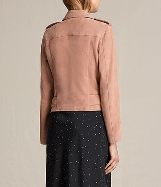 Mujer Plait Balfern Suede Biker Jacket (CLAY PINK) - product_image_alt_text_8