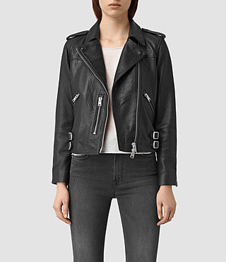 Womens Watson Leather Biker Jacket (Black)