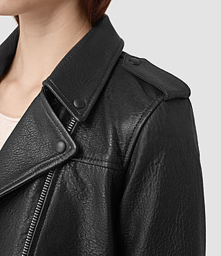 Womens Watson Leather Biker Jacket (Black) - product_image_alt_text_2