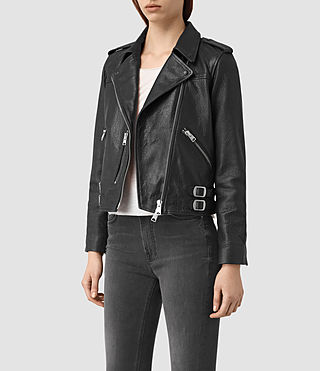 Womens Watson Leather Biker Jacket (Black) - product_image_alt_text_3
