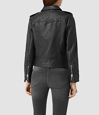 Womens Watson Leather Biker Jacket (Black) - product_image_alt_text_4