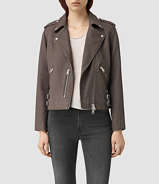Womens Watson Leather Biker Jacket (Taupe)