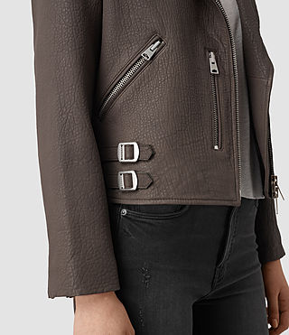 Mujer Watson Leather Biker Jacket (Taupe) - product_image_alt_text_2