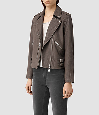 Mujer Watson Leather Biker Jacket (Taupe) - product_image_alt_text_3