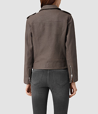 Damen Watson Leather Biker Jacket (Taupe) - product_image_alt_text_4