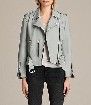 Damen Balfern Leather Biker Jacket (Sky Blue)