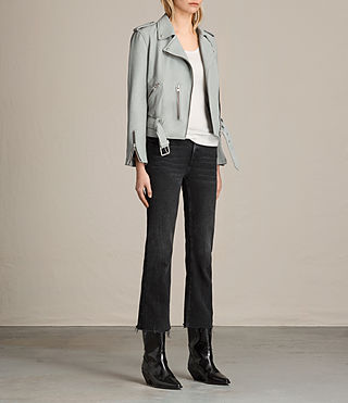 Womens Balfern Leather Biker Jacket (Sky Blue) - Image 2
