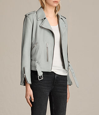 Womens Balfern Leather Biker Jacket (Sky Blue) - Image 3