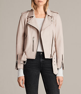 Womens Balfern Leather Biker Jacket (Wshd Pink) - Image 1