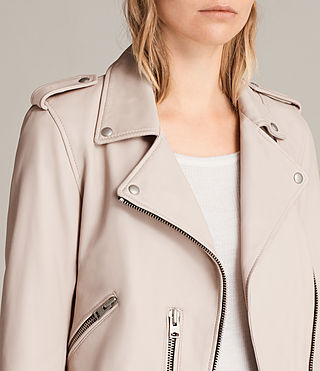 Womens Balfern Leather Biker Jacket (Wshd Pink) - Image 5