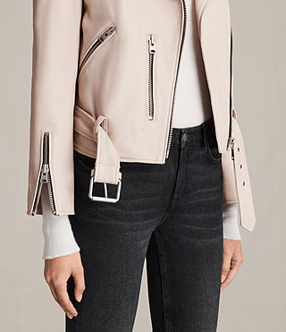 Womens Balfern Leather Biker Jacket (Wshd Pink) - Image 7