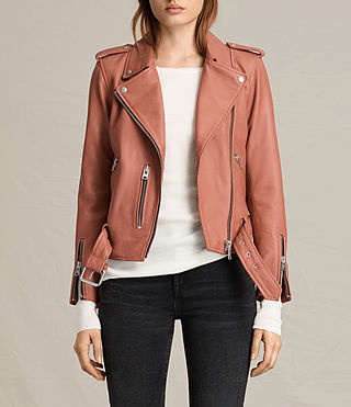 Femmes Balfern Leather Biker Jacket (Burnt Coral)