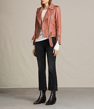 Women's Balfern Leather Biker Jacket (Burnt Coral) - product_image_alt_text_2