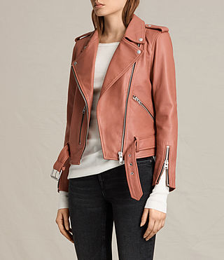 Women's Balfern Leather Biker Jacket (Burnt Coral) - product_image_alt_text_3