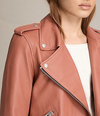 Women's Balfern Leather Biker Jacket (Burnt Coral) - product_image_alt_text_7
