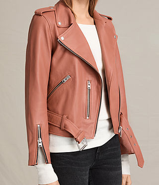 Women's Balfern Leather Biker Jacket (Burnt Coral) - product_image_alt_text_8