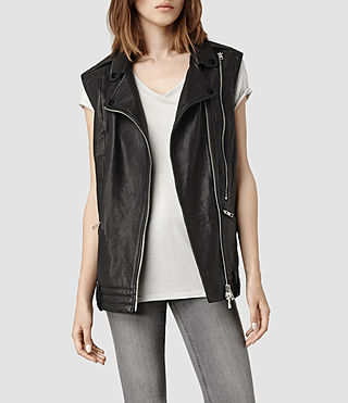 Womens Bristow Leather Gilet (Black)