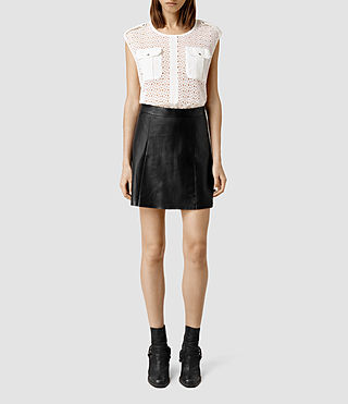 Womens Sens Leather Skirt (Black)