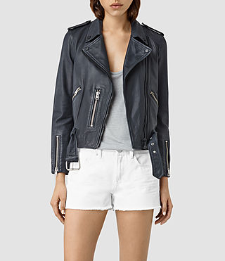 Damen Wyatt Zip Leather Biker Jacket (Ink Blue)