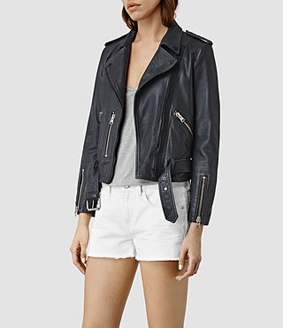 Mujer Wyatt Zip Leather Biker Jacket (Ink Blue) - product_image_alt_text_3