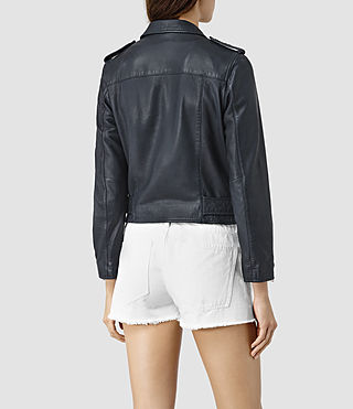 Mujer Wyatt Zip Leather Biker Jacket (Ink Blue) - product_image_alt_text_4