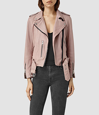 Damen Wyatt Zip Leather Biker Jacket (BLUSH PINK)