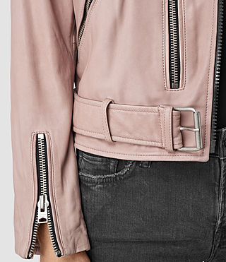 Womens Wyatt Zip Leather Biker Jacket (BLUSH PINK) - product_image_alt_text_2