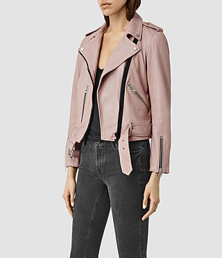 Womens Wyatt Zip Leather Biker Jacket (BLUSH PINK) - product_image_alt_text_3