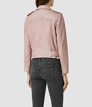 Womens Wyatt Zip Leather Biker Jacket (BLUSH PINK) - product_image_alt_text_4