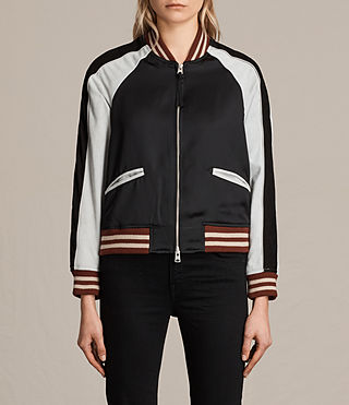 Womens Atley Bomber Jacket (BLACK/OYSTER WHITE) - product_image_alt_text_1