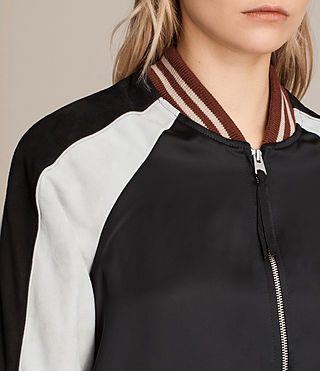 Womens Atley Bomber Jacket (BLACK/OYSTER WHITE) - product_image_alt_text_2