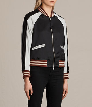 Womens Atley Bomber Jacket (BLACK/OYSTER WHITE) - product_image_alt_text_3