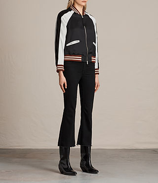 Womens Atley Bomber Jacket (BLACK/OYSTER WHITE) - product_image_alt_text_5