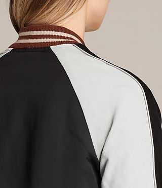 Womens Atley Bomber Jacket (BLACK/OYSTER WHITE) - product_image_alt_text_7