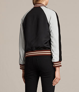 Womens Atley Bomber Jacket (BLACK/OYSTER WHITE) - product_image_alt_text_8