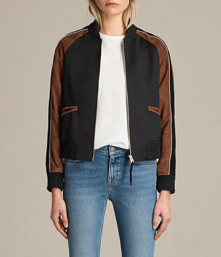 Womens Atley Bomber Jacket (BLACK/RUST RED)